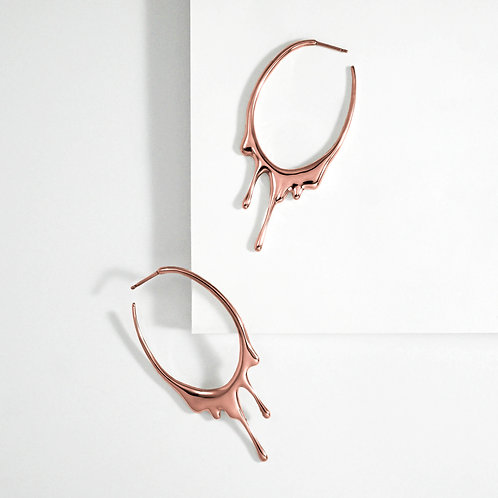 Dripping Oval M   Rose Gold   Earrings