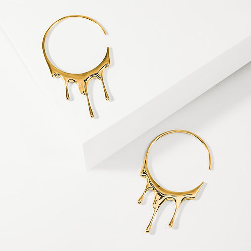 Dripping Circular M-2 | Gold | Earrings