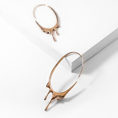 Dripping Oval L | Rose Gold | Earrings