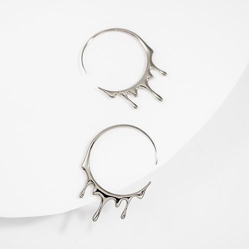 Dripping Circular M-1   Silver   Earrings