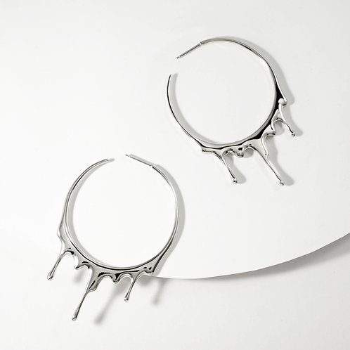 Dripping Circular L | Silver | Earrings