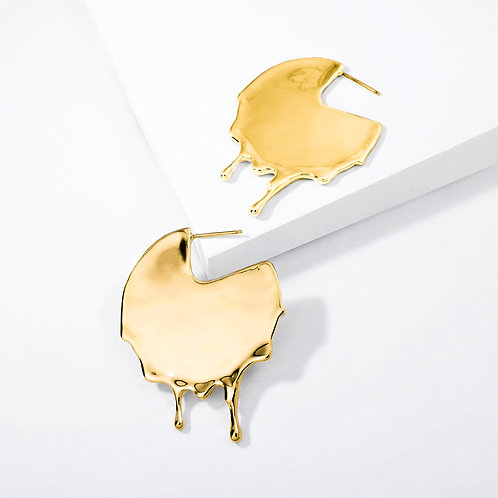 Dripping Disc | Gold | Earrings
