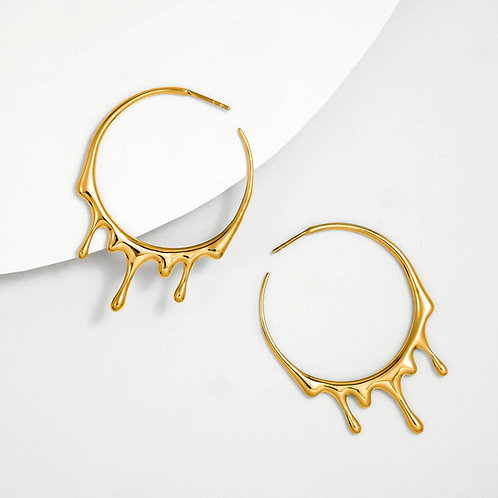 Dripping Circular M-1 | Gold | Earrings