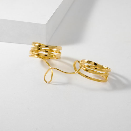 Looping Fate | Gold | Three Finger Ring