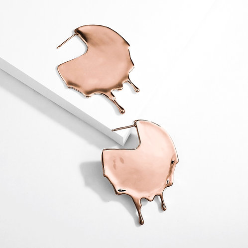 Dripping Disc | Rose Gold | Earrings
