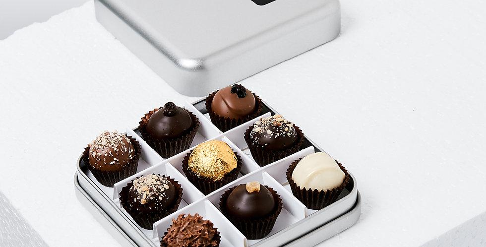 Metal Gift Box With Chocolates, 9pcs