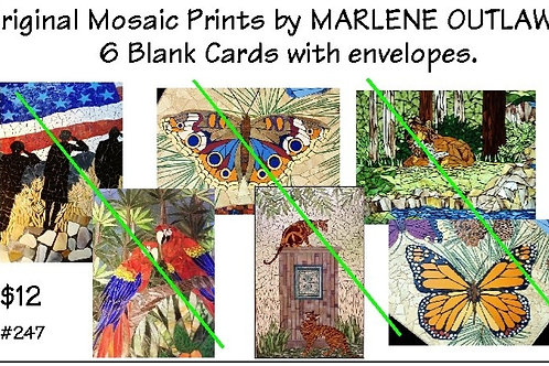 Blank Mosaic Printed Cards (6) with Envelopes (#247)