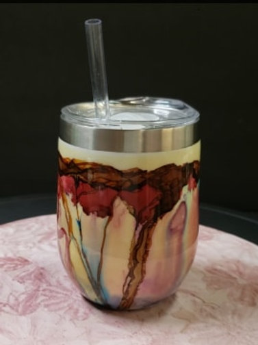 SOLD -Wine 12oz Insulated Tumbler  #101 Red Floral