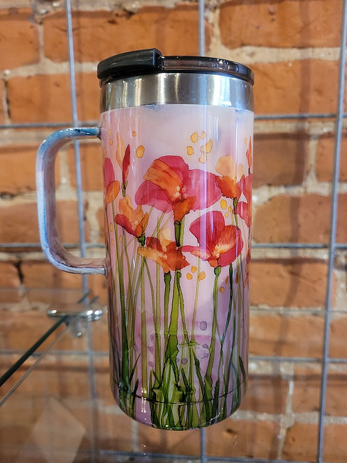 Insulated Coffee Mug 20 oz  Poppies