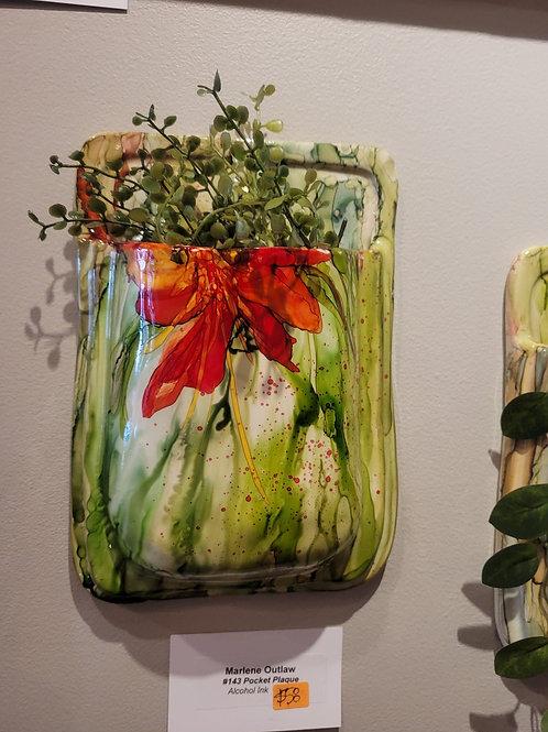 Ceramic Pocket Sconce with Foliage #143