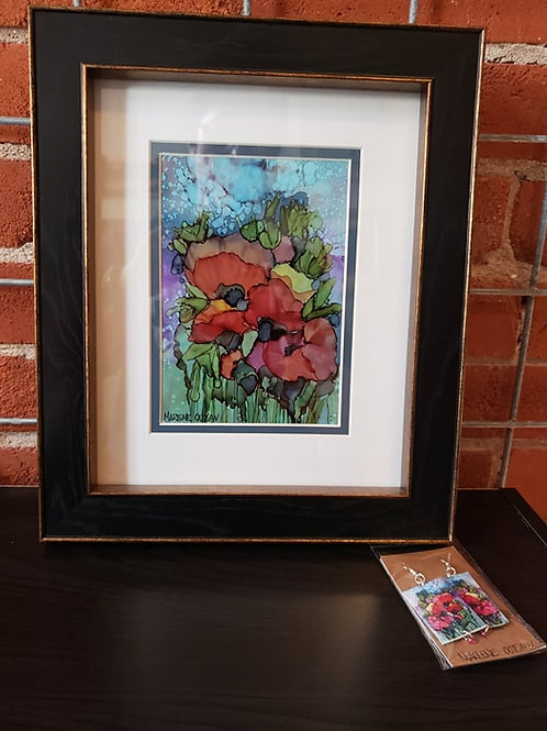 Original Art Poppies - includes free earrings