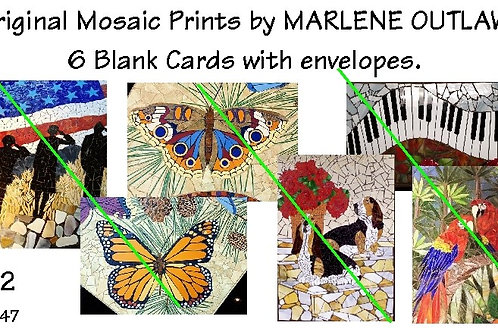 Packaged Mosaic Print Blank Cards (6) with Envelopes
