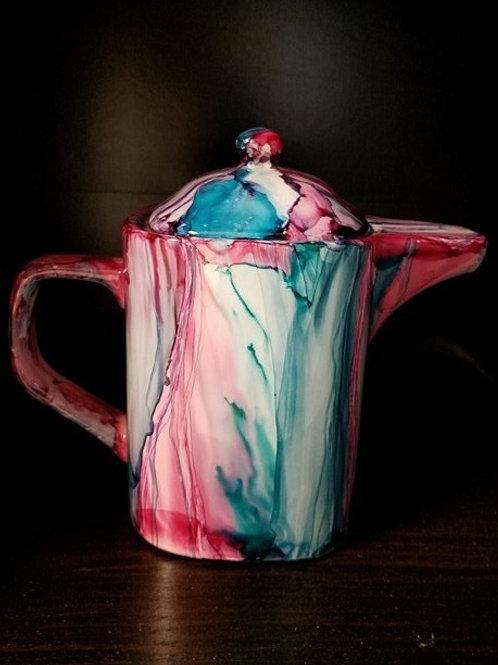 Modern Tea Pot Medium - Teal/Cranberry (#111)