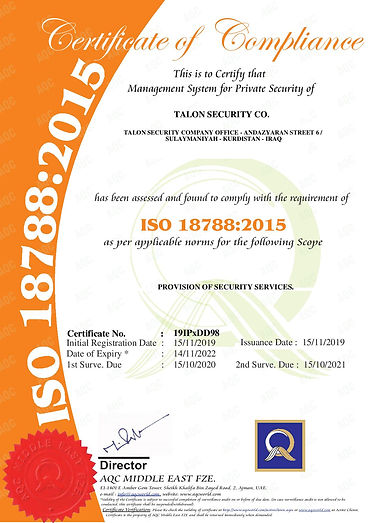 AQC ISO 18788 2015 - TALON SECURITY CO.-