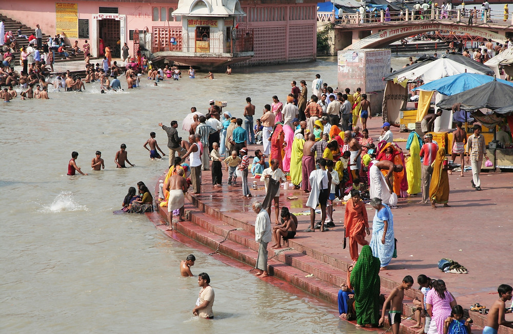 People bathing in the Ganges River