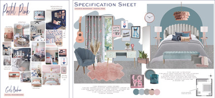 Girls Bedroom Moodboard and Specification Sheet