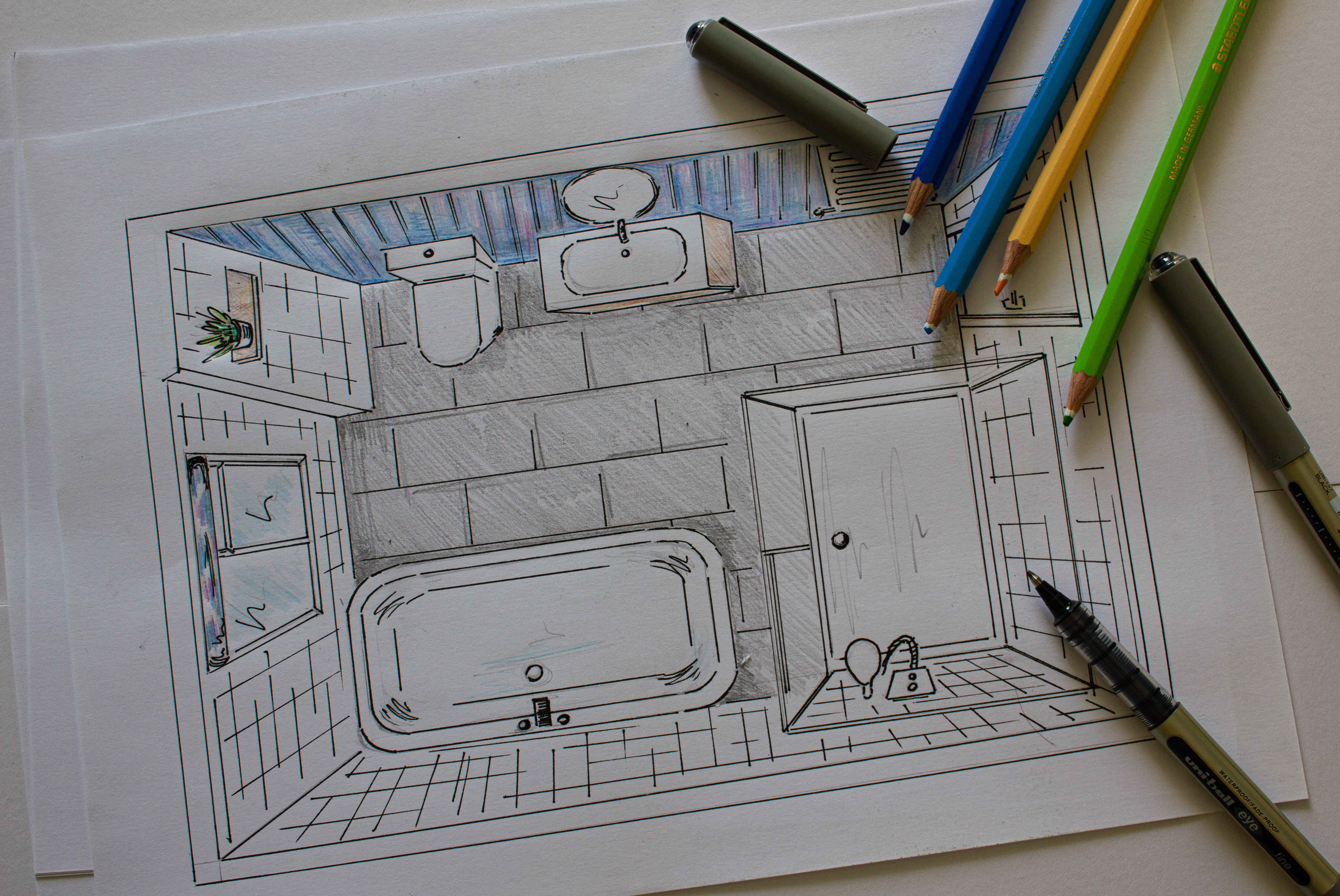 Hand drawn perspective drawing of a bathroom remodel