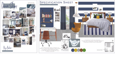 Boys Bedroom Moodboard and Specification Sheet