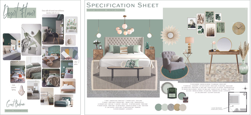 Guest bedroom Moodboard & Specification Sheet