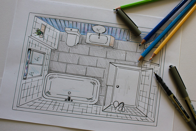 Hand drawn perspective drawing