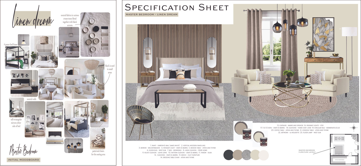 Luxuary Master Bedroom Moodboard & Specification Sheet