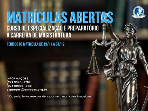 Matrículas abertas para o Curso Preparatório de Magistratura