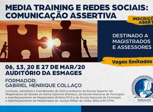 Abertas inscrições para o Curso Media Training e Redes Sociais para magistrados