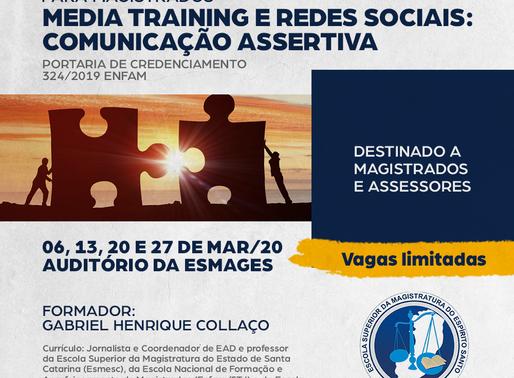 Em 2020, Curso Media Training e Redes Sociais para magistrados