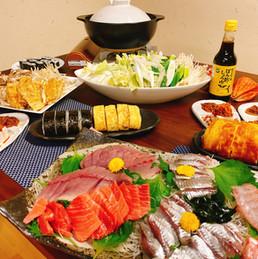 房総の秋の幸を堪能!刺身と鍋のテーブル
