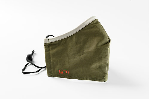 Olive Green mask with Grey edge