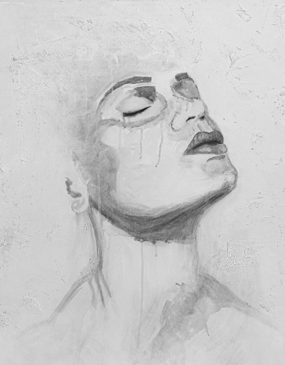 Woman, acrylic, monochromatic, Kas Rea, Kas Rea Visual Arts, Saskatoon, YXE, fine art, art for sale