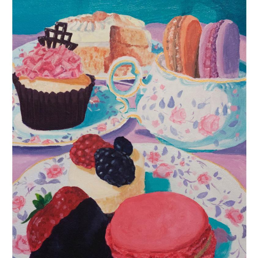 Dessert Painting, dessert, dessert art, chinaware, white china, antiques, cheesecake, U of S,  cupcakes, cake, art for sale, artwork, Kas Rea, Kas Rea Visual Arts, artist Kas Rea, Canadian art, Canadian artist, woman artist, Saskatoon art, Saskatoon artist, artwork, representational art, Saskatchewan artist, artist