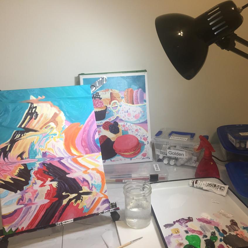 Dessert paintings, dessert art, desserts, treats, WIP, work in progress, acrylics, acrylic, art for sale, Artist Kas Rea, Kas Rea Visual Arts, Kas Rea, Saskatoon artist, Saskatoon artwork, art studio, creative space, art space, artist studio, artist at work, woman artist, YXE artist, Canadian artist, Saskatchewan artist, Canadian art, Saskatchewan art, Saskatoon art, art instructor, art teacher, artist, art blog, art professional, professional artist, art, U of S, BFA