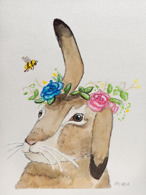 Bunny with Flower Crown Card