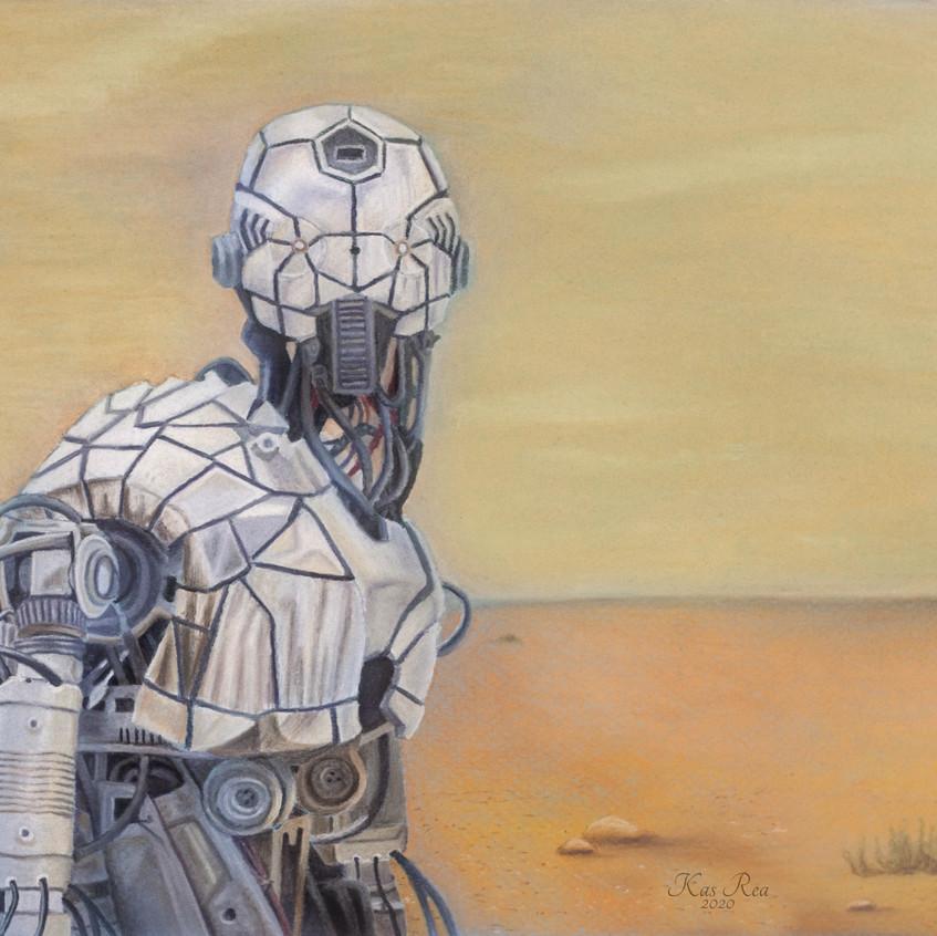 Robot, chalk pastels, chalk pastel, robot art, art instructor, desert, sci-fi, sci-fi art, art for sale, artwork, Kas Rea, Kas Rea Visual Arts, artist Kas Rea, Canadian art, Canadian artist, woman artist, Saskatoon art, Saskatoon artist, artwork, Saskatchewan artist, artist