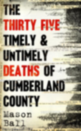 image shows shover of The Thirty Five Deaths, a novel by Mason Ball