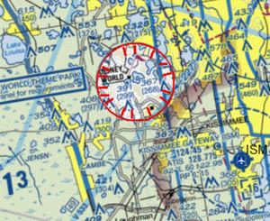 FAA Sectional Chart image of permanent TFR over Disney World