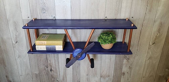 Large Navy Stain Airplane Shelf