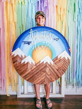 "3ft Round ""Adventure Awaits"" Mountainscape"