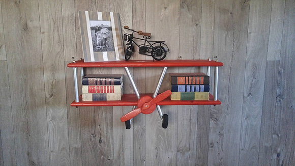 Large Red Stain Airplane Shelf