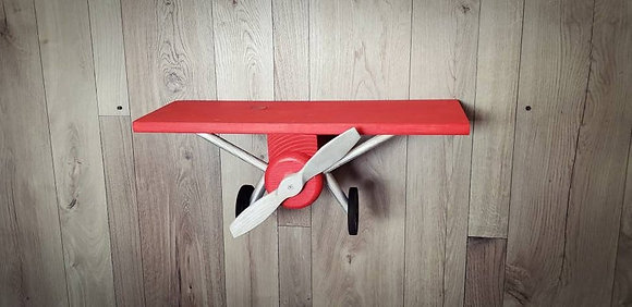 Single Red and Silver Airplane Shelf
