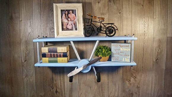 Large Light Blue Airplane Shelf