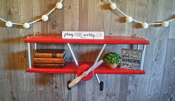 XL Red Stain Airplane Shelf