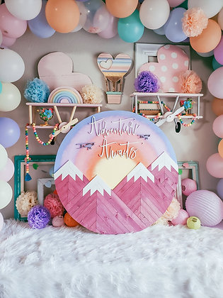 "3ft Round ""Adventure Awaits"" Mountainscape"