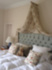 bed spread, cushions made by seamsfine, bespoke cushions, canopy bed