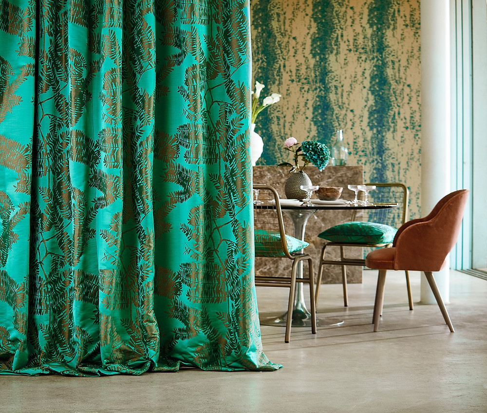 Curtains made by Seamsfine in Extravagance fabric in Emerald