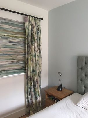 Romo blinds and contrasting matching curtains bespoke floral made by Seamsfine