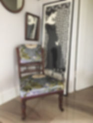 printed velvet chair recovered by Seamsfine with Whitehead Designs in a grey floral fabric
