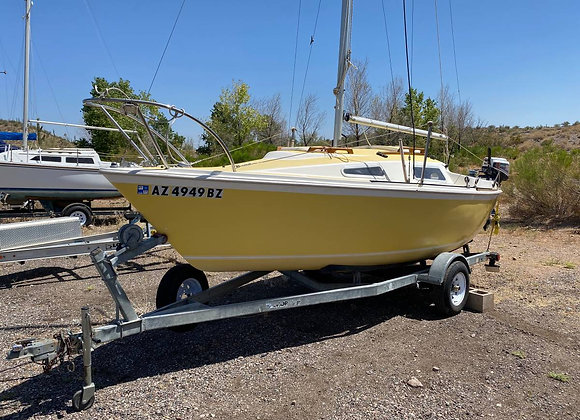 WINDROSE 18 SAILBOAT WITH TRAILER AND HONDA OUTBOARD