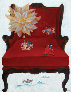 A red chair in heaven.(천국의 붉은 의자)116x91 acrylic on canvas_2012